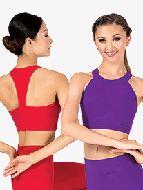 Womens Sueded Cotton Mock Neck T-Back Bra Top