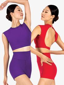 Womens Sueded Cotton Cap Sleeve Dance Crop Top