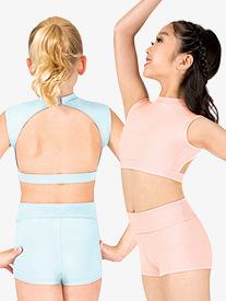 Girls Sueded Cotton Cap Sleeve Dance Crop Top