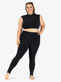 Womens Plus Size Sueded Cotton Basic Dance Stirrup Leggings
