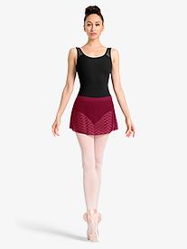 Womens Sheer Wave Mesh Ballet Skirt