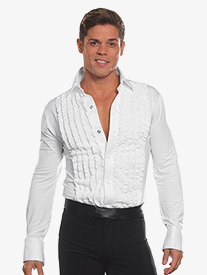 Mens Ruffled Long Sleeve Ballroom Leotard