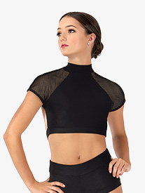 Womens Mesh Short Sleeve Dance Bra Top