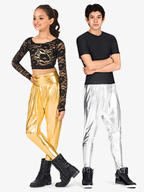 Girls Metallic Harem Pants