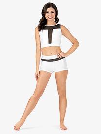 Womens Mesh Inset Dance Shorts