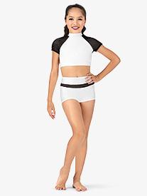 Girls Mesh Inset Dance Shorts