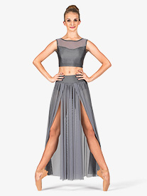 Adult Emballe Long Mesh Skirt with Attached Brief