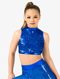 Girls Sequin Mock Neck Crop Top