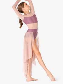 Girls Long Sleeve High-Low Dance Performance Dress