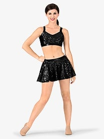 Womens Sequin Tank Performance Bra Top