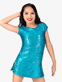Girls Sequin Cap Sleeve Performance Dress Set