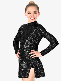 Girls Sequin Long Sleeve Performance Dress