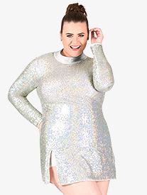 Womens Plus Size Sequin Long Sleeve Performance Dress