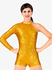 Womens Sequin Asymmetrical Performance Shorty Unitard