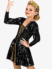 Girls Long Sleeve Sequin Dress Set
