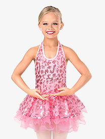 Girls Sequin Scribble Halter Performance Tutu Dress