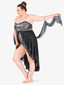 Womens Plus Size Glitter Mesh High-Low Camisole Lyrical Dress