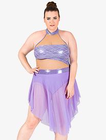 Womens Plus Size High Neck Metallic Lyrical Dress