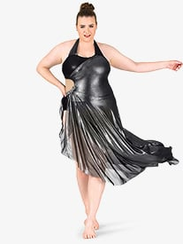 Womens Plus Size Metallic Asymmetrical Halter Performance Dress