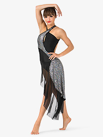 Womens Sequin Bustled Performance Dress