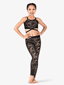 Girls Floral Lace Dance Leggings