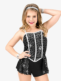 Girls Sequin Camisole Performance Shorty Unitard