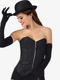 Womens Pinstripe Zip Front Dance Corset