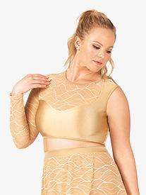 Womens Plus Size Swirl Mesh Asymmetrical Dance Crop Top
