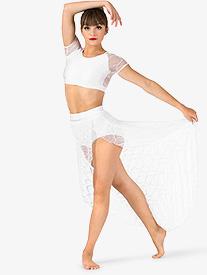 Womens Swirl Mesh Long High-Low Performance Skirt