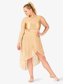 Womens Plus Size Swirl Mesh Long High-Low Performance Skirt