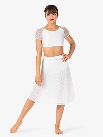 Womens Swirl Mesh Long Performance Skirt
