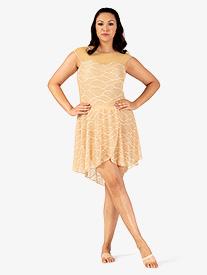 Womens Plus Size Swirl Mesh Short High-Low Performance Skirt