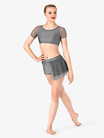 Womens Swirl Mesh Bustled Dance Shorts