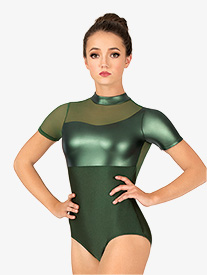 Womens Matte Metallic Short Sleeve Leotard