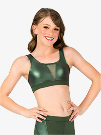 Girls Matte Metallic Performance Tank Bra Top