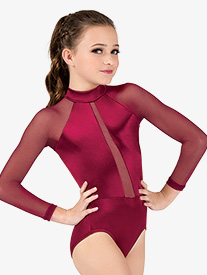 Girls Performance Satin Mock Neck Long Sleeve Leotard