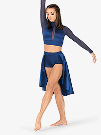 Womens Performance Satin Open Front Skirt