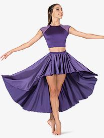 Girls Performance Satin High-Low Skirt
