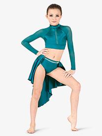 Girls Performance Satin Open Front Short Skirt