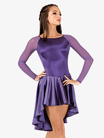 Womens Performance Satin Asymmetrical Long Sleeve Dress