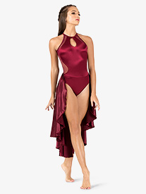 Womens Performance Satin Keyhole Halter Dress