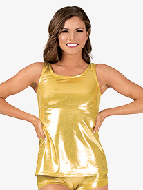 Womens Ladder Back Long Metallic Dance Tank Top