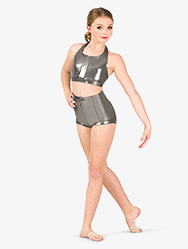 Womens Metallic High Waist Dance Shorts