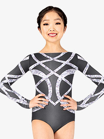 Girls Geometric Rhinestone Sublimated Print Performance Leotard
