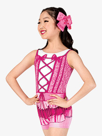 Girls Ruffle Princess Sublimated Print Performance Shorty Unitard