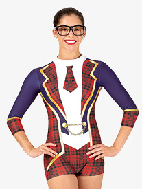 Womens School Girl Sublimated Print 3/4 Sleeve Performance Unitard