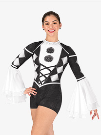 Womens Harlequin Sublimated Print Performance Shorty Unitard