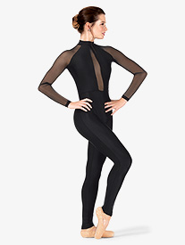Womens Performance Plunging Mesh Long Sleeve Unitard