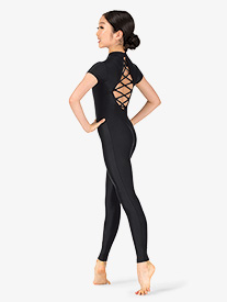 Girls Performance Strappy Short Sleeve Unitard