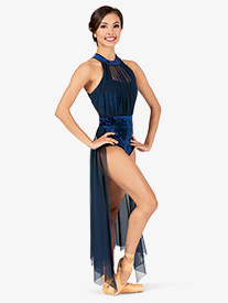 Womens Performance Crushed Velvet Halter Dress